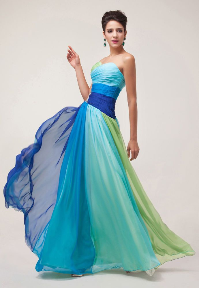 Strapless Long Bridesmaid Party Evening Prom Wedding Guest Dress ...