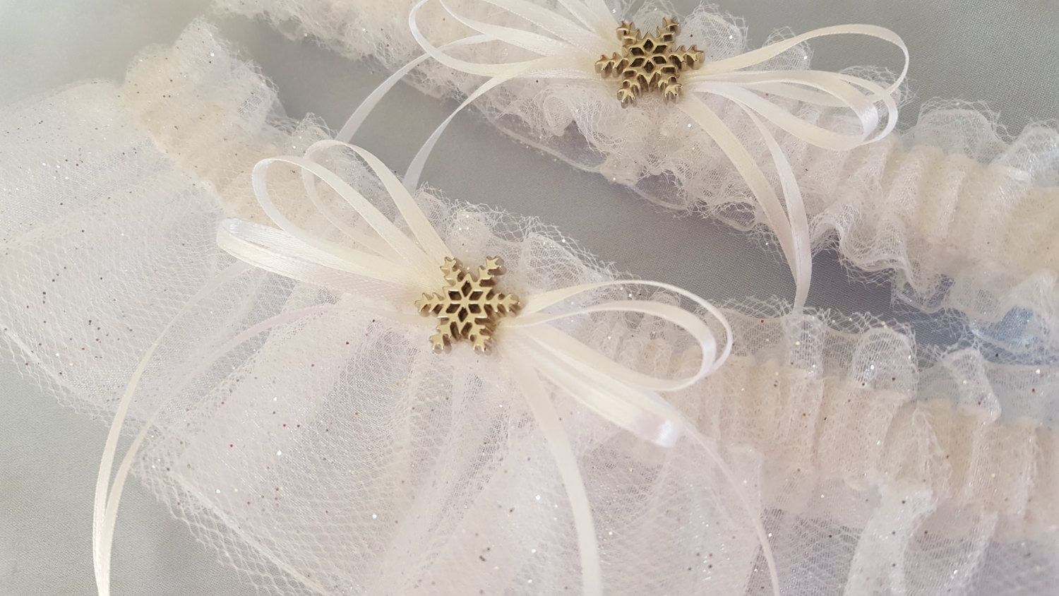 Let IT SNOW Snowflake White Silver Glitter Snowflake Accented Bridal Garter Set by Allofyou on Etsy