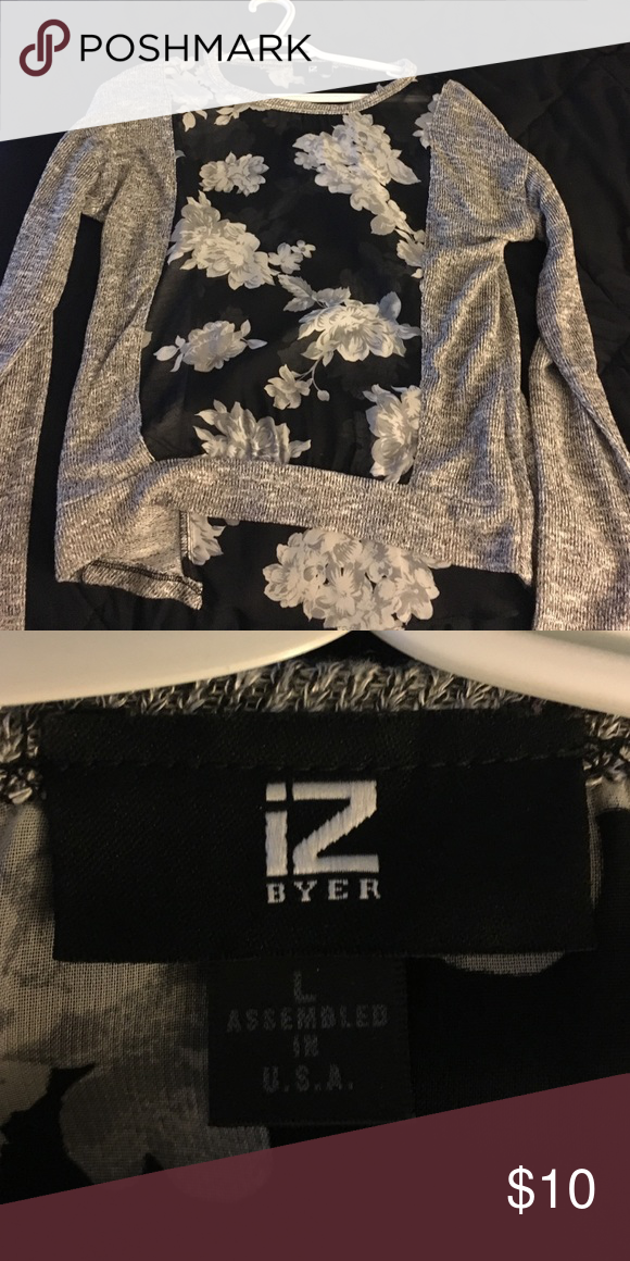Flowrered sweater! Sweater material with sheer flowered section Iz Byer Sweaters