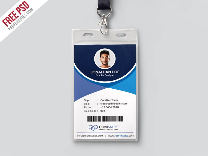 Free Psd Corporate Office Identity Card Template Psd Id Card Template Identity Card Design Employee Id Card