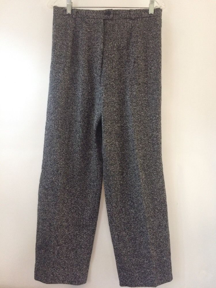 a78bd727f Talbots High waisted Silk Wool Blend Black Speckled Pants