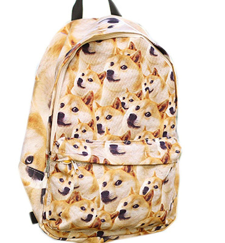 Anime doge backpack womens canvas backpack schoolbag