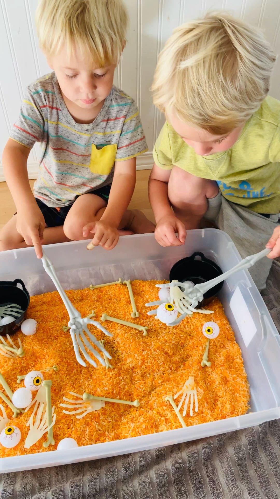 Preschool And Toddler Halloween Rice Sensory Bin