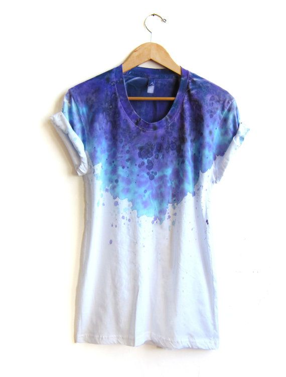 new galaxy purple tee original splash dyed hand painted relaxed fit flowy scoop neck t shirt. Black Bedroom Furniture Sets. Home Design Ideas
