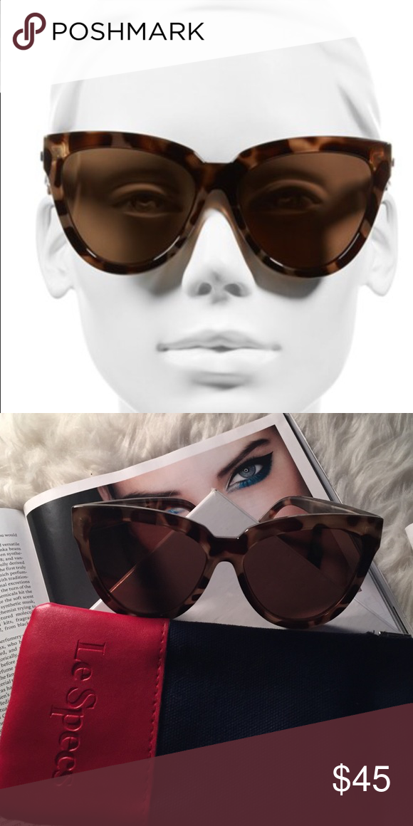 81bfd3021b Le Specs Liar Liar Sunglasses NWOT. No scratches. Oversized Cat Eye.  Beautiful volcanic tortoise color. 100% UV protection. 57 M M lens. Comes  with Case. Le ...