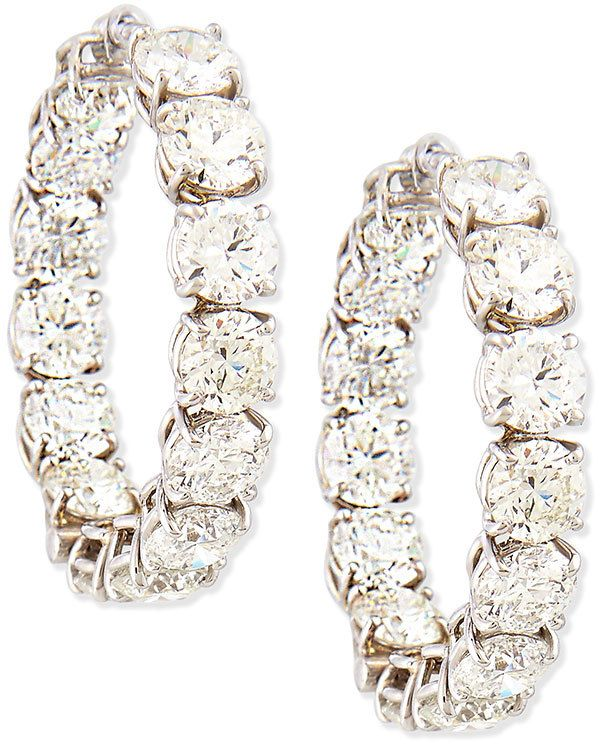 Roberto Coin 18k White Gold Perfect Diamond Hoop Earrings 14 0 Total Carat Weight For Pierced Ears 105 000 Whilst Available