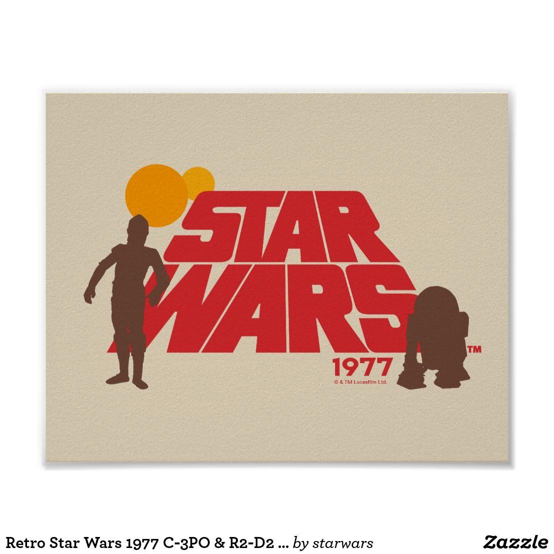 Retro star wars 1977 c3po r2d2 logo poster