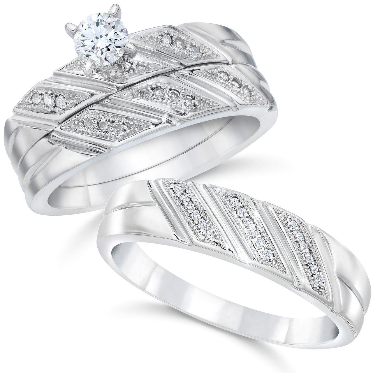 1/3ct His & Hers Diamond Trio Engagement Wedding Ring Set