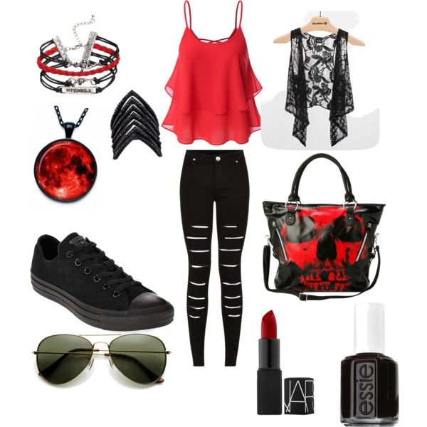 girly but edgy by auzziebearloveskristen on Polyvore featuring polyvore fashion style Daytrip Converse Iron Fist Lynn Ban Essie