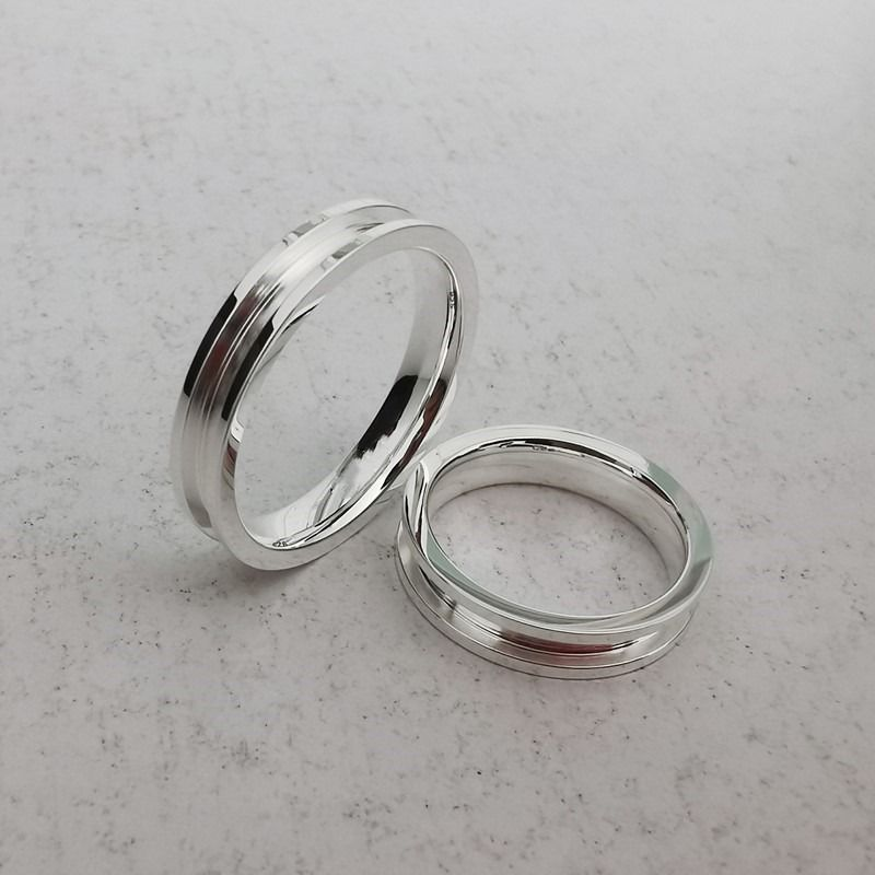Inlay ring with groove White ceramic ring Blank