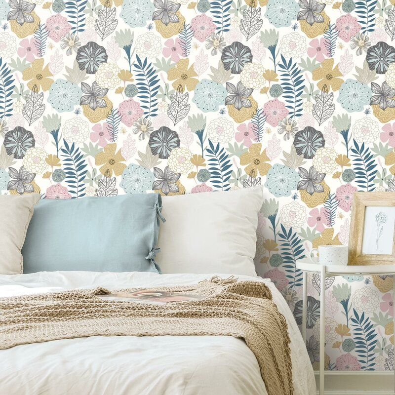 Weese Blooms 20 5 L X 16 5 W Peel And Stick Wallpaper Roll Peel And Stick Wallpaper Pink Perennials Wall Coverings