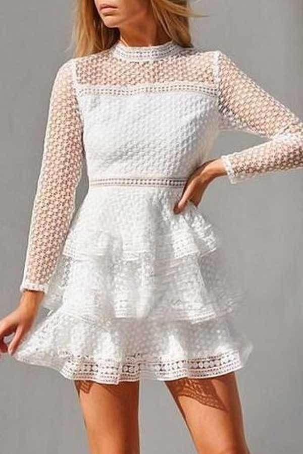 Photo of White Lace Cutout Layered Short Dress