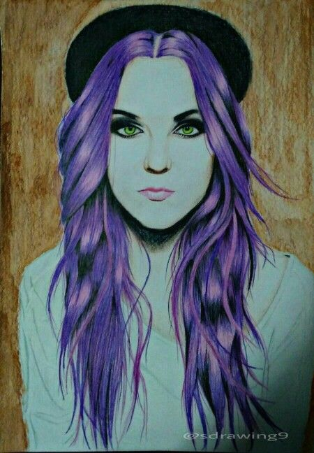 emo girl drawing. purple hair