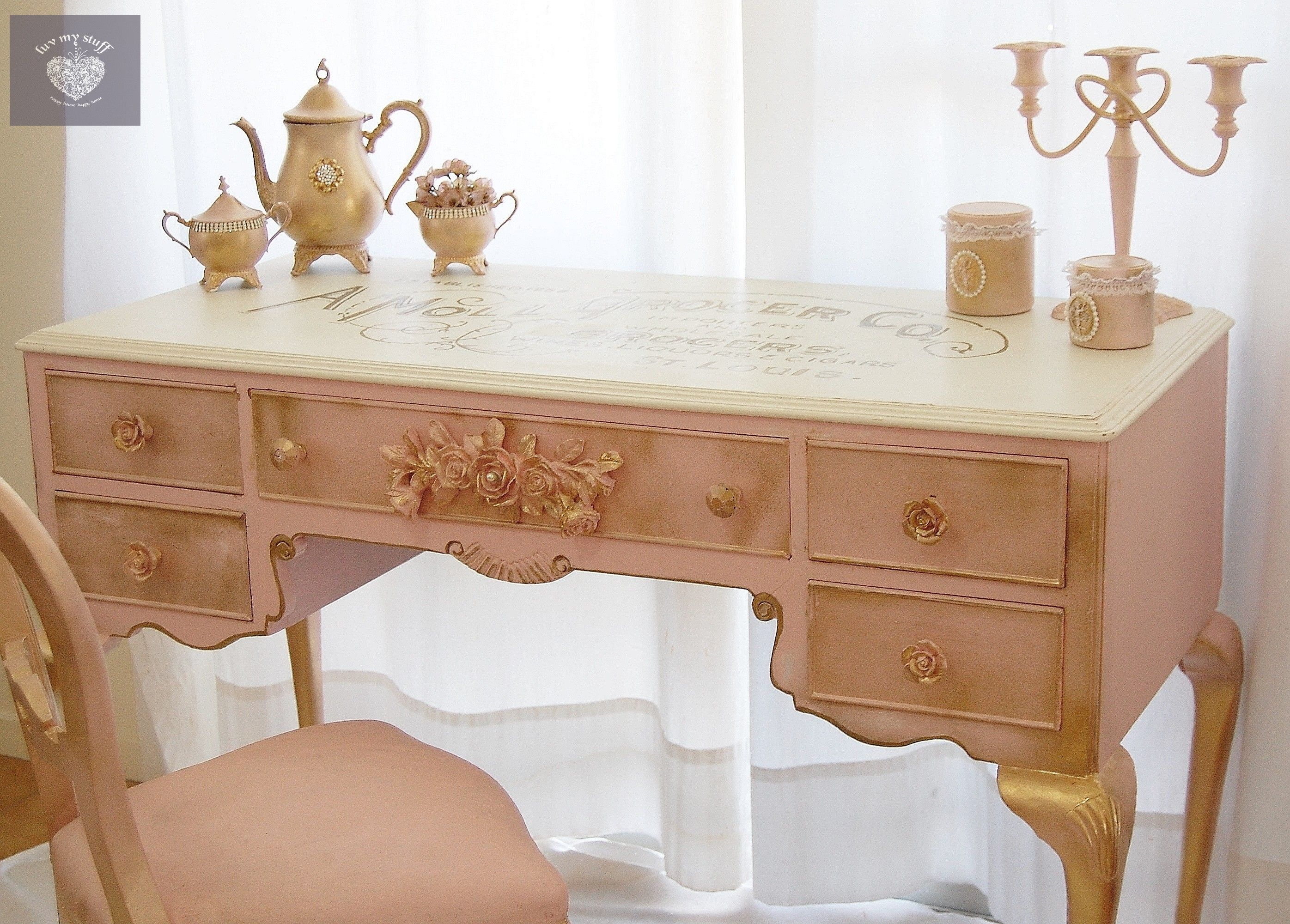 Pink And Gold French Writing Desk Petite Pink Chic Pink Home Decor French Writing Desk Romantic Shabby Chic