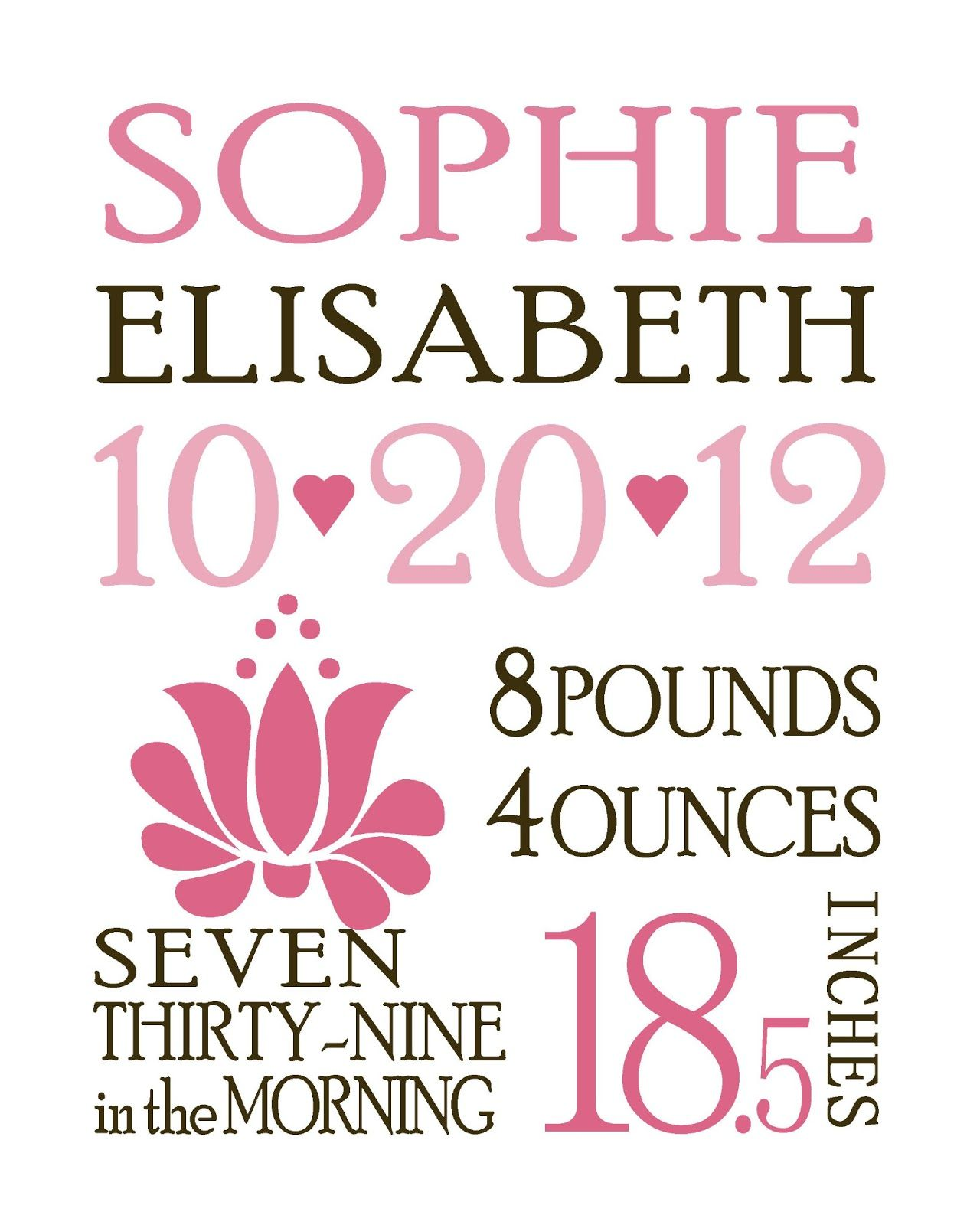 I designed this personalized birth announcement for a good friend – Personalized Birth Announcement