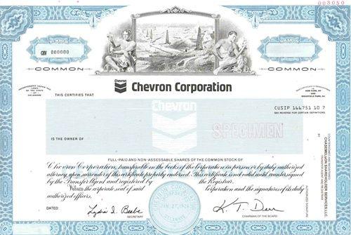 Chevron Corp  Specimen Stock Certificate   Scripophily / Dow