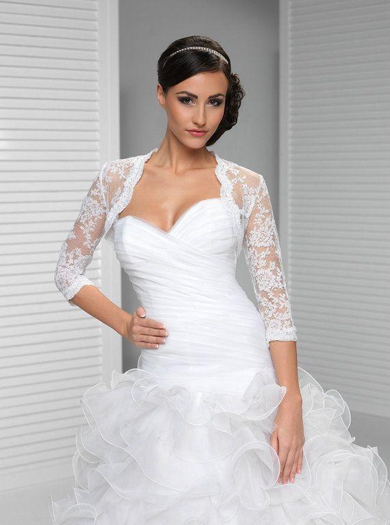 Bridal Bolero Lace Wedding Shrug Bridal Cover Up Wrap 3/4 Bracelet ...