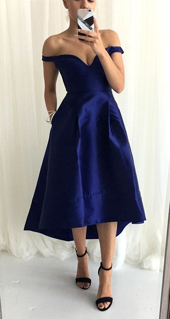 Off the Shoulder High Low Navy Blue Bridesmaid