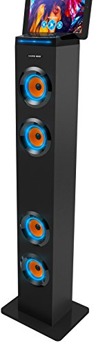 Sharper Image Sbt1001bk Wireless Tower Speaker With Blue Led Lights