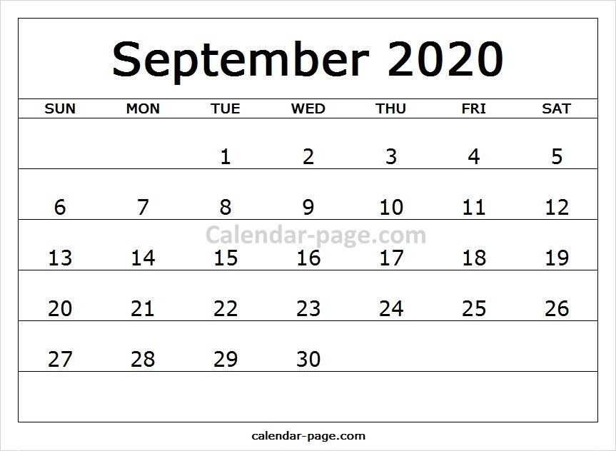Print Free Monthly Calendar 2020 September   Blank Calendar
