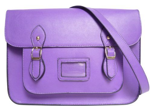 LYDC Women's Faux Leather Shoulder Satchel Purple