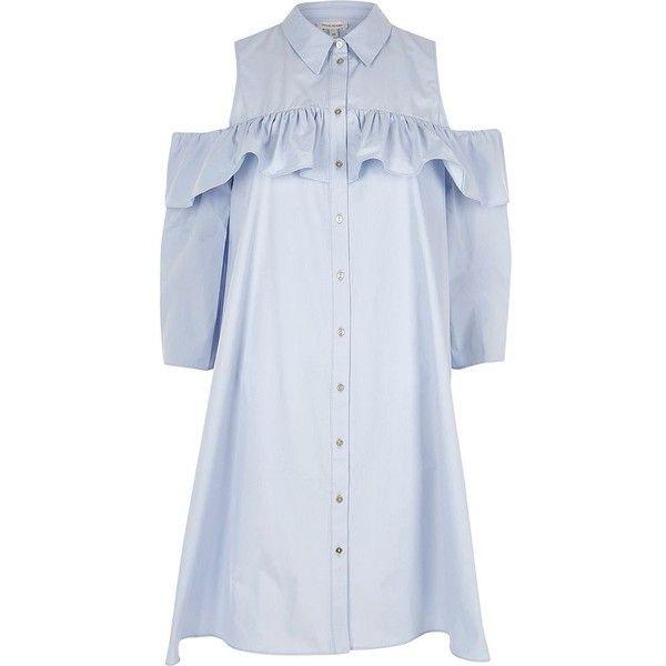 5ab0fd747fe River Island Light blue cold shoulder frill shirt dress (3.500 RUB) ❤ liked  on Polyvore featuring dresses, river island, blue, shirt dresses, women, ...