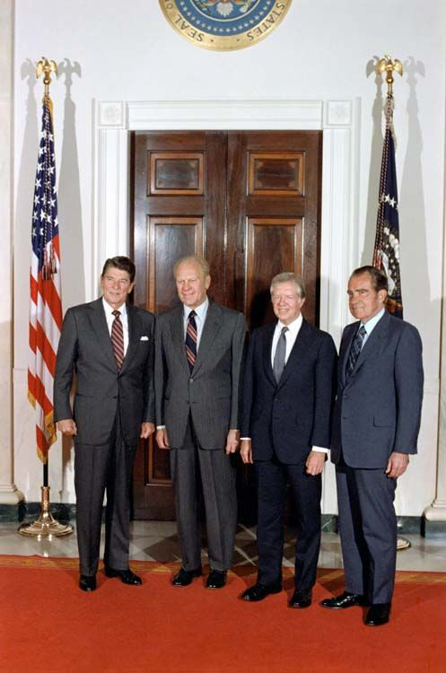 Four Presidents -  Ronald Reagan, Jimmy Carter, Gerald R. Ford, and Richard Nixon, together at the White House prior to leaving for Egypt for the funeral of President Anwar Sadat. 10/8/81.  -from the Reagan Library