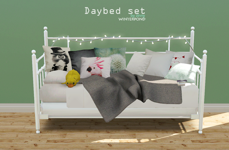 Daybed set this set includes the bed, cushions, a blanket, string lights the bed inspired by