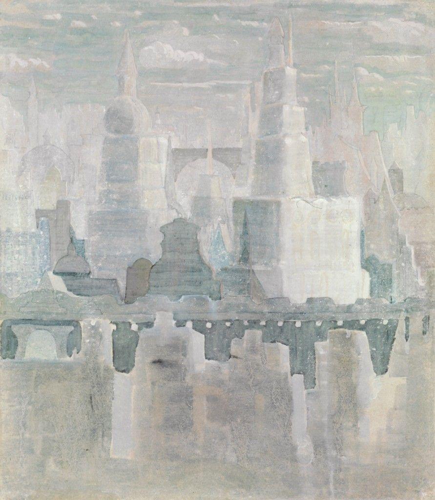 MIESTAS Popierius, tempera, guašas. 1908. Iš ciklo MIESTAS