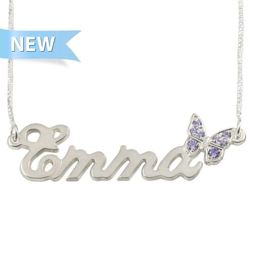 Sterling Silver Name Necklace with Butterfly Swarovski ...
