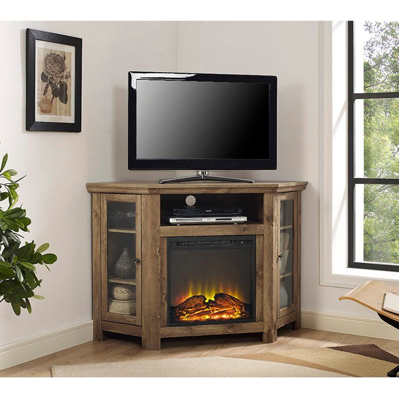 48 Inch Barn Wood Corner Fireplace Tv Stand Keaton Wood Corner
