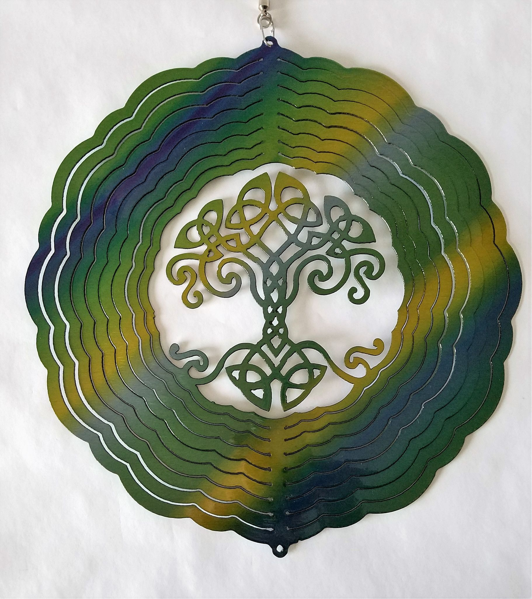 Celtic Tree of Life Green Wind Spinner, Metal Yard Art and Outdoor ...