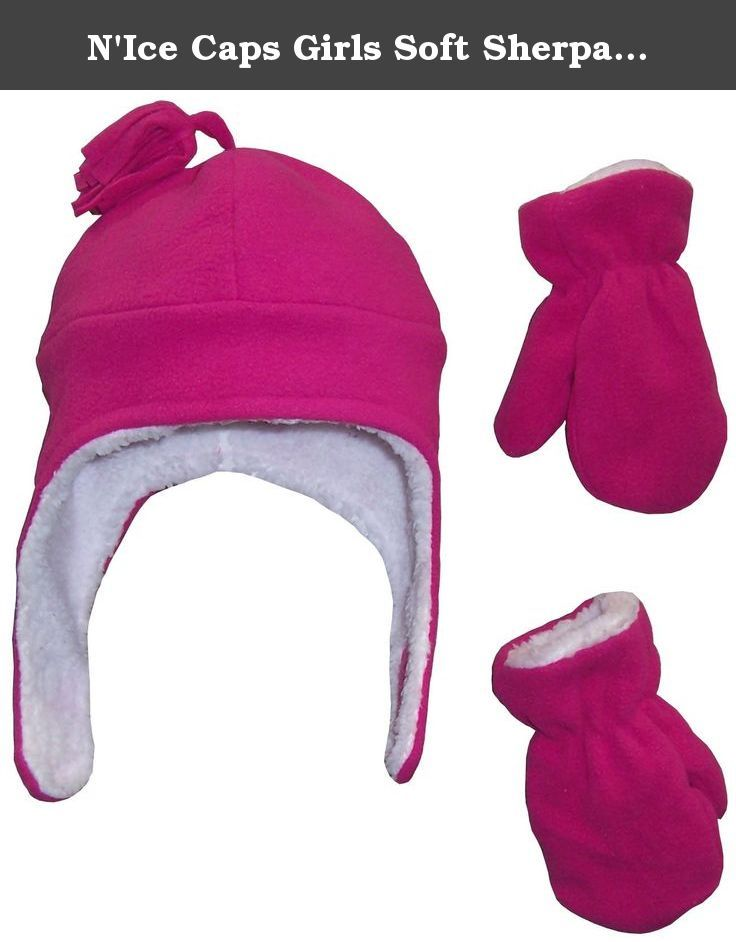 N Ice Caps Girls Soft Sherpa Lined Micro Fleece Pilot Hat and Mitten Set (2-3  Years 6276922d4951