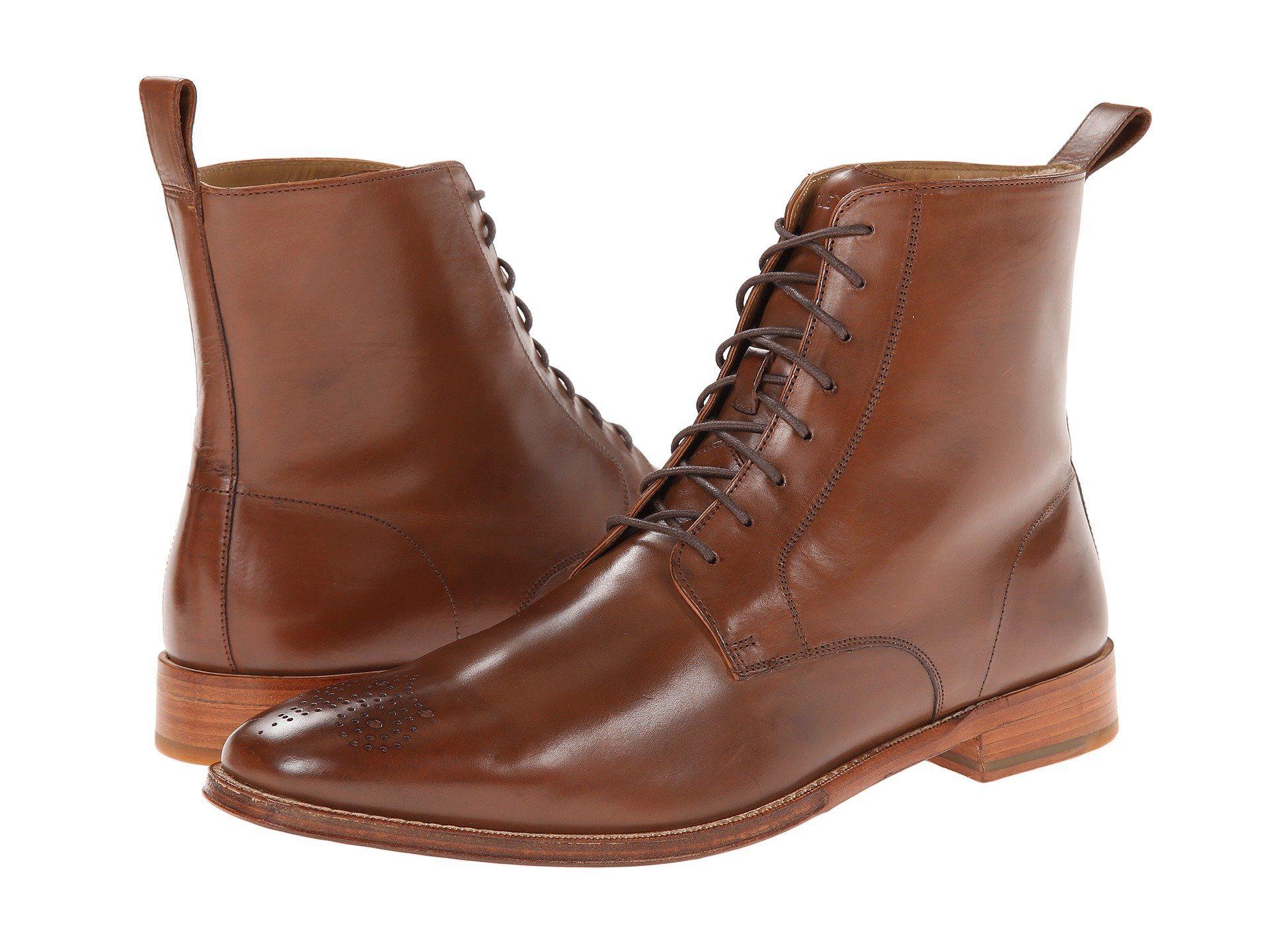#FootGift #chaussure #homme #bottine marron en cuir avec lacets décorée en  brogue