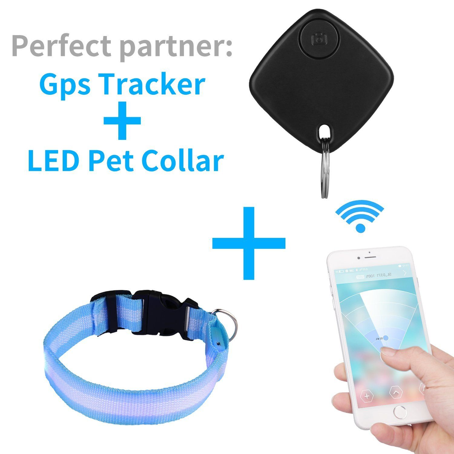 Topperone LED Pet Blue Collar and Black Pet Finder and