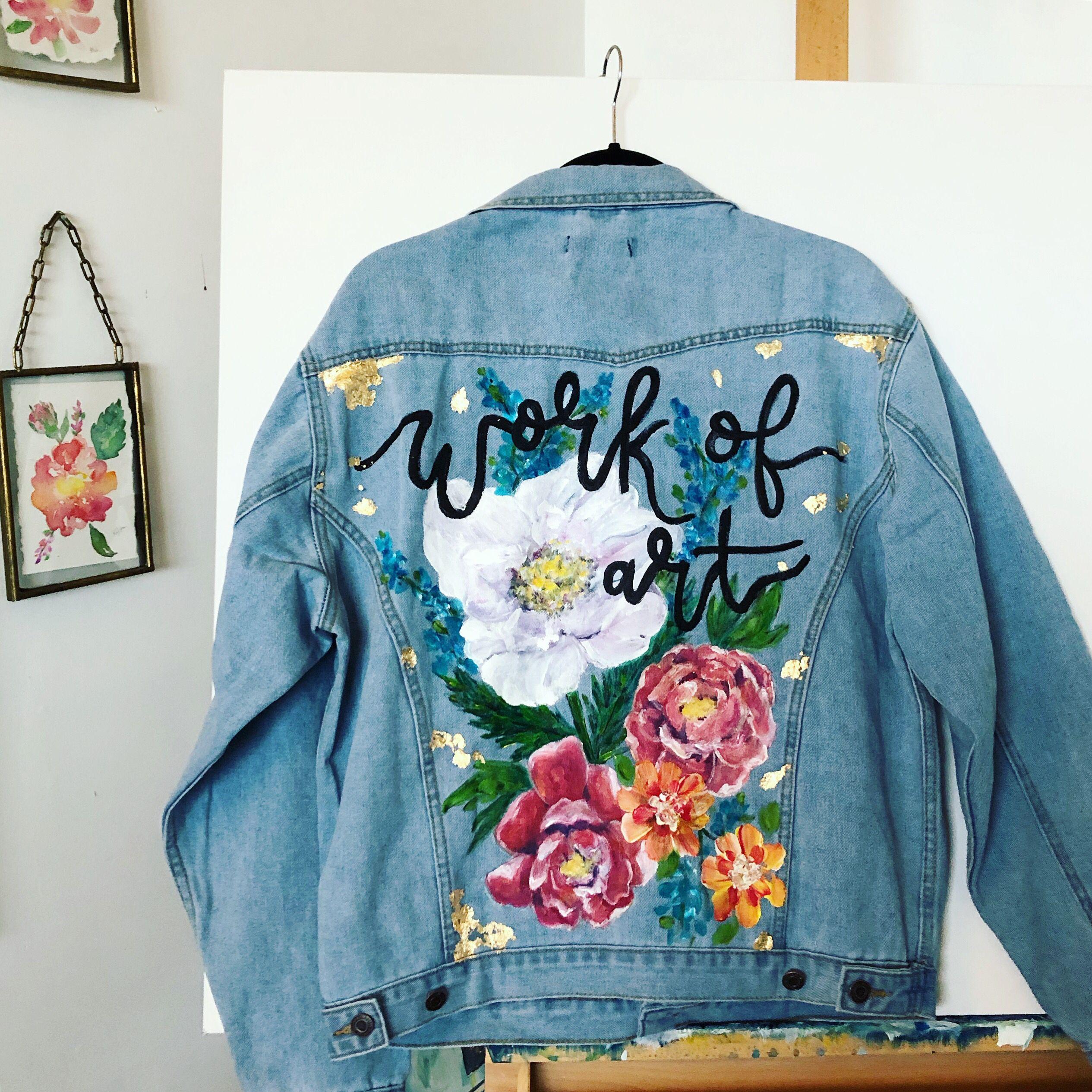 Boyfriend Jean Jacket Art With Gold Leafing Copyright Copeley Designs Art Jean Jacket Design Denim Design Diy Jacket [ 2530 x 2530 Pixel ]