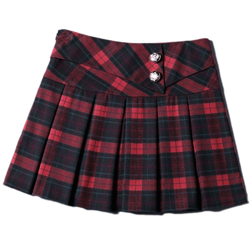47dce6e2b Women Retro Red Blue Plaid Skirt Plus Size Schoolgirl Tartan Pleated Mini  Skirt