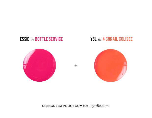 Mani/Pedi Colors for Spring: Essie Nail Polish in Bottle Service & YSL La Lacque Couture Nail Lacquer in 4 Corail Colisee // #nails #beauty
