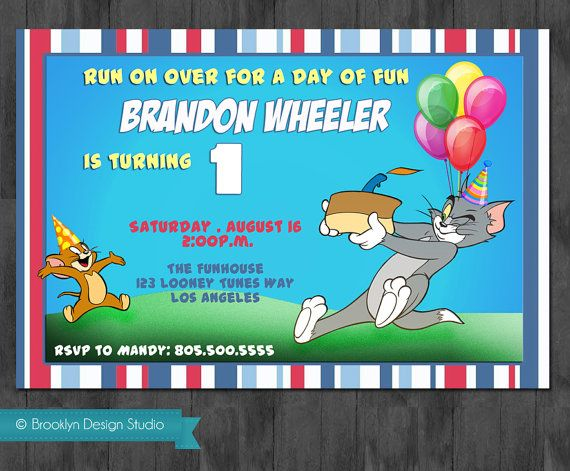 Tom and Jerry custom Designed Birthday Invitation Invitations and