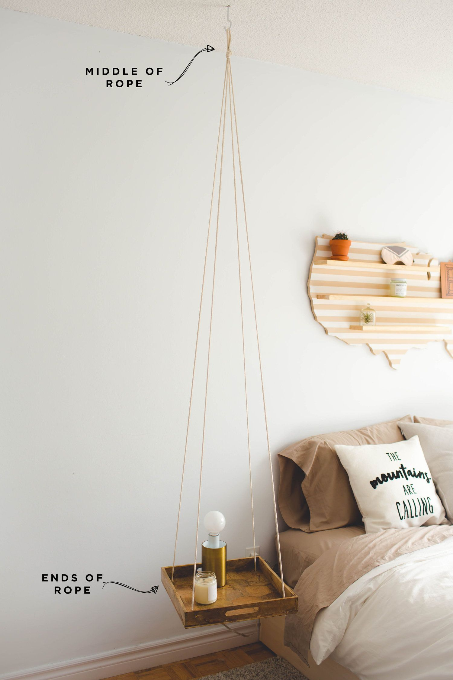 Diy Minimal Hanging Night Stand Diy Nightstand Bedroom Diy Room Diy