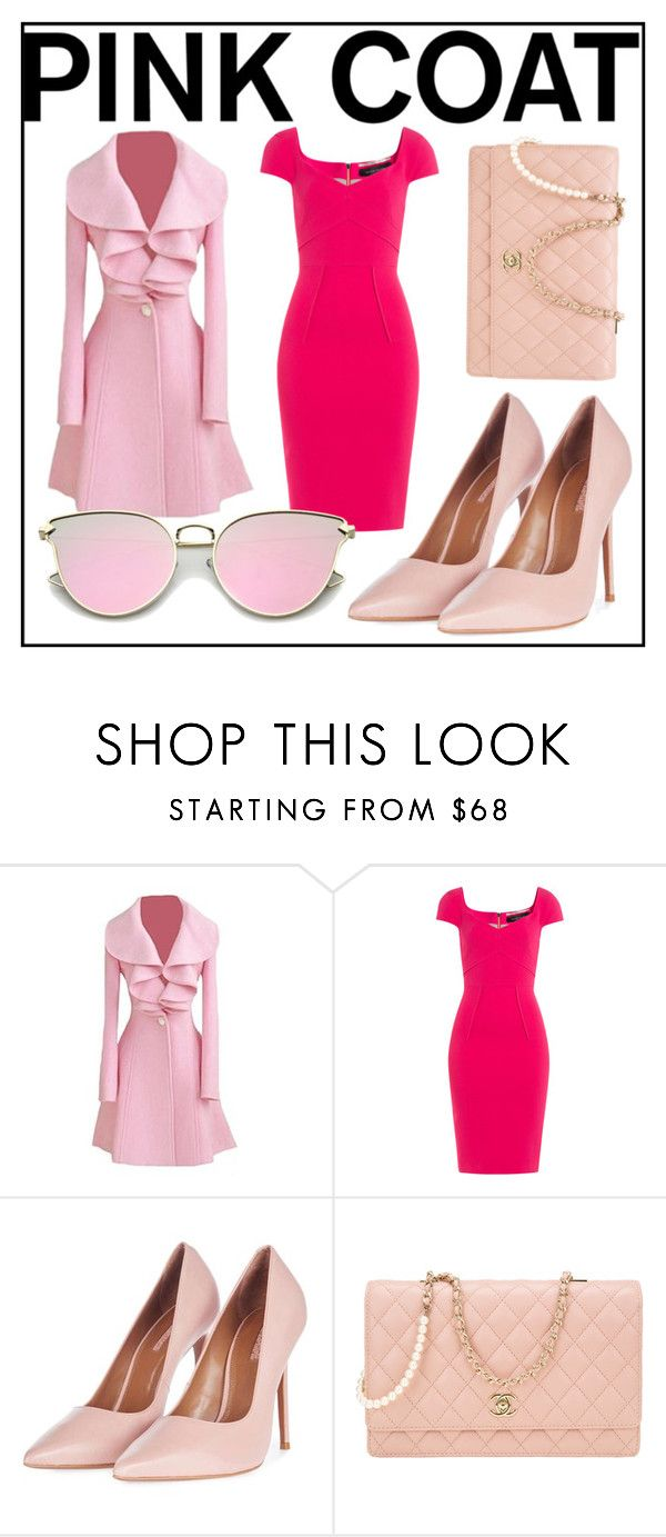 """""""Hide It Away"""" by calexasswoh ❤ liked on Polyvore featuring Roland Mouret, Topshop, Chanel, gold, Pink and pinkcoats"""