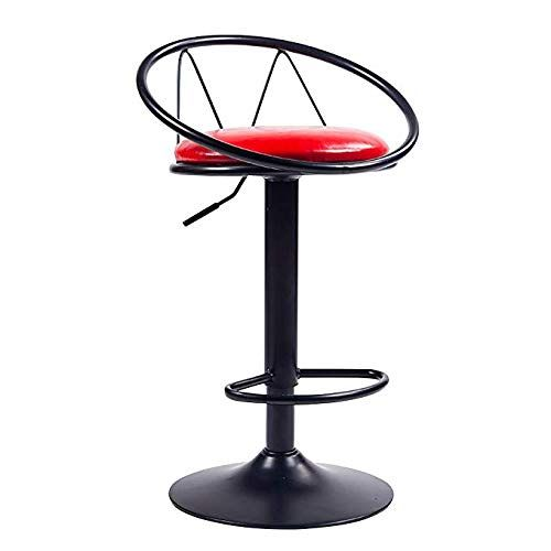 Cyhwdhw Rotating Breakfast Bar Chair Leather Backrest Adjustable Lift Footstool Counter High Stools 62 82cm Red 1 Retro Bar Stools Metal Bar Stools Adjustable Bar Stools