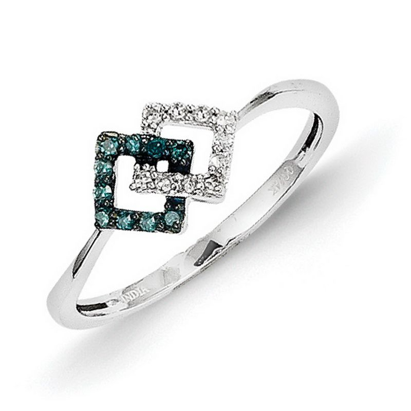 14k White Gold w/ Blue and White Diamond Ring - QGY10746AA - KevinJewelers.com