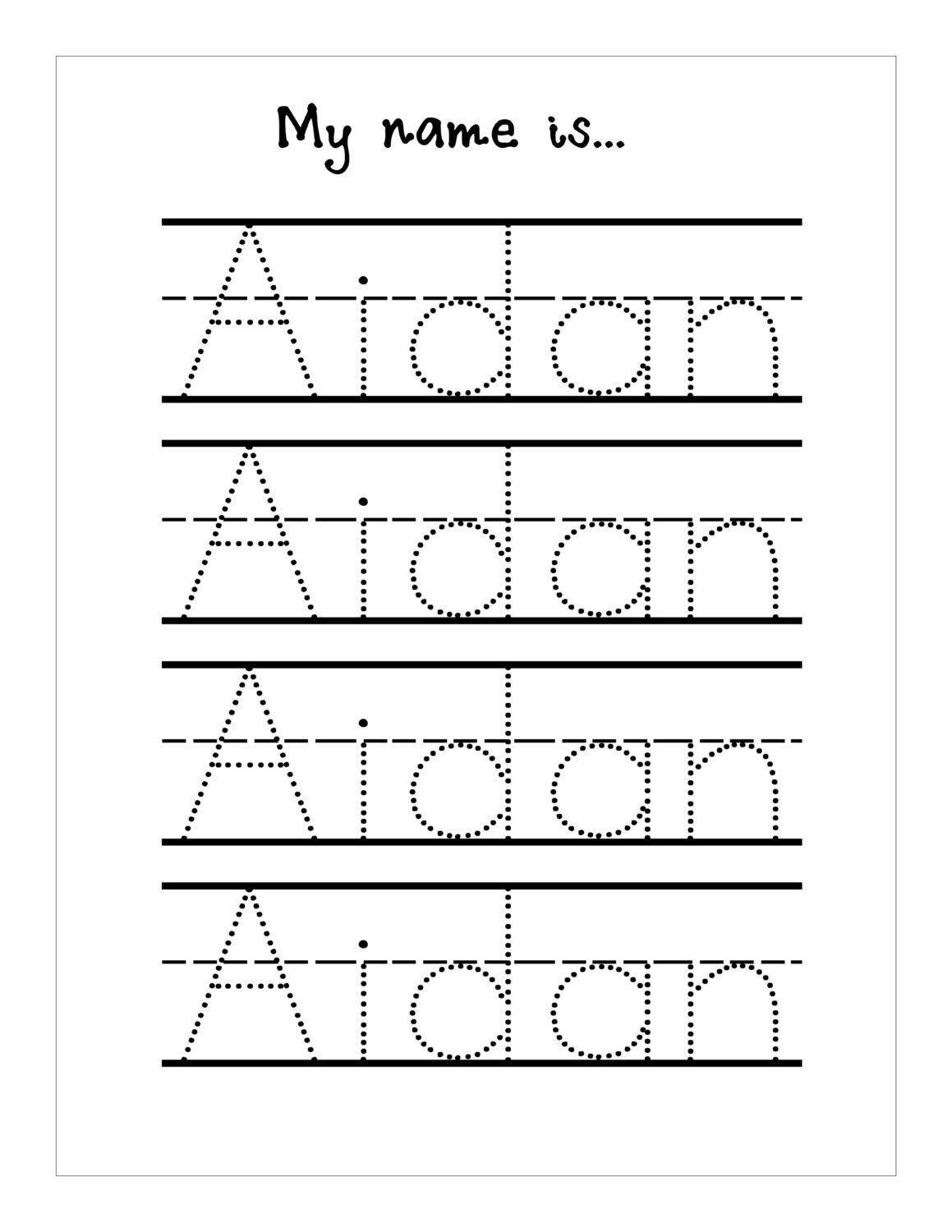 Tracing Names For Preschoolers Worksheets In With