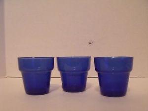 Mini Cobalt Blue Glass Flower Pots 3 | eBay