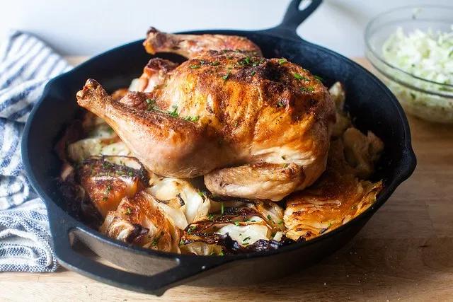 Roast Chicken With Schmaltzy Cabbage Recipe Roasted Chicken