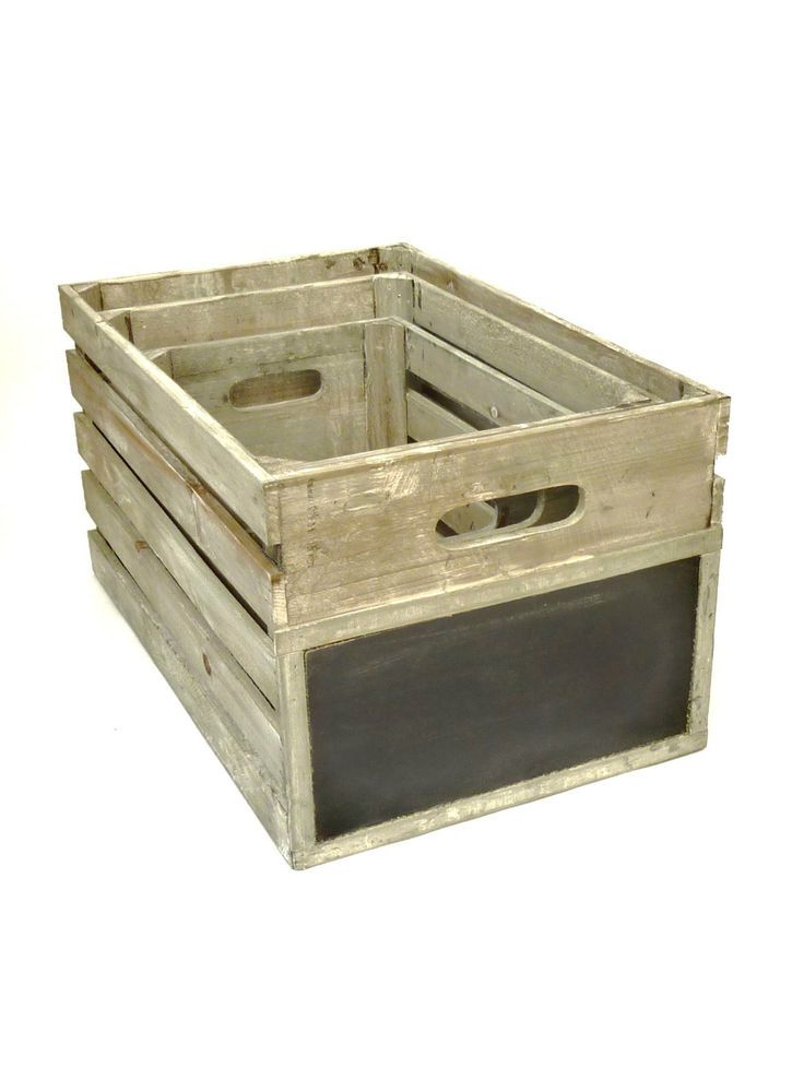 Wooden Crate Grey Wash Shabby Vintage Style Chalkboard End