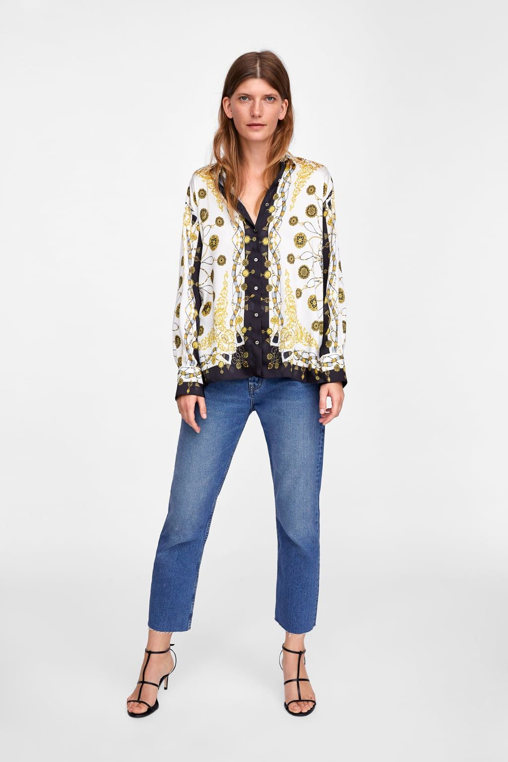 63799f95740 Image 1 of CHAIN PRINT BLOUSE from Zara