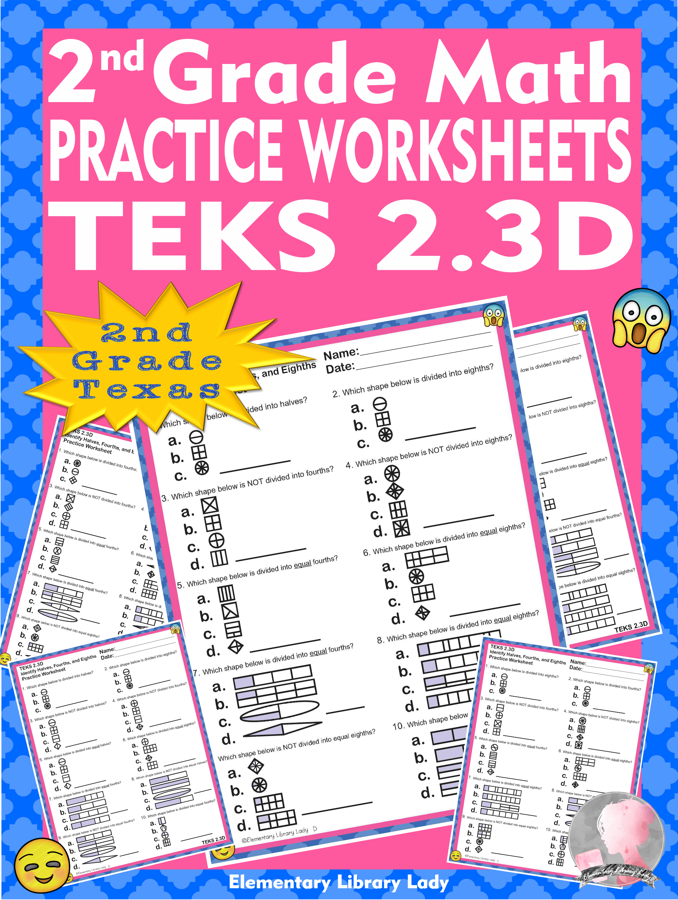 Math Teks 2 3d Texas 2nd Grade Practice Worksheets Non