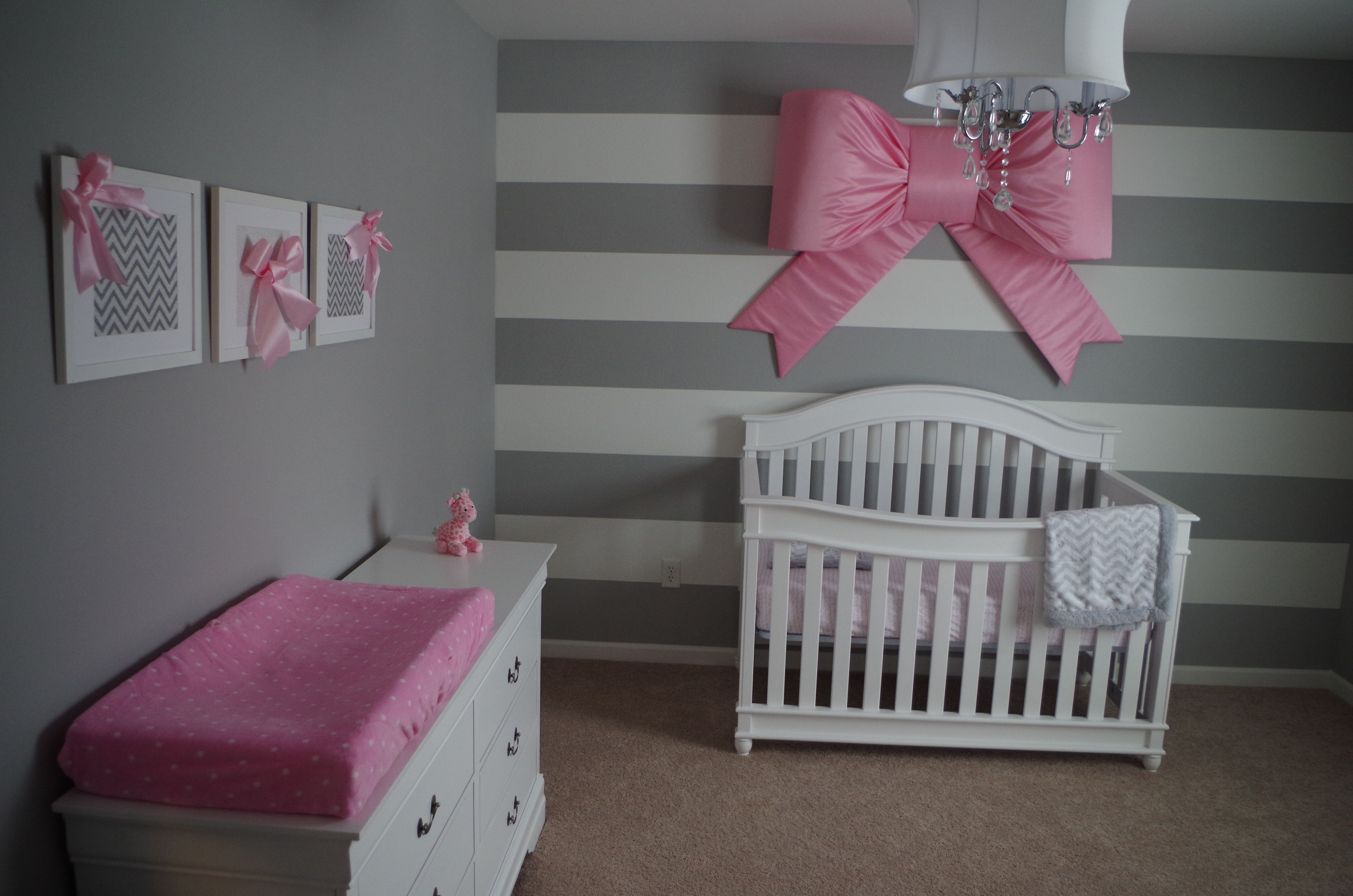 Olivia S Nursery Grey And White Stripes With Pink Bows White
